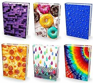 [6-Pack] Medium 8x10 Hardcover Textbook Stretchable Book Covers Washable Fabric