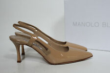 e20831d329ac sz 8.5   38.5 Manolo Blahnik Bretto Beige Patent Slingback Pointy Toe Pump  Shoes