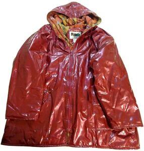 Wippette Vintage Shiny Dark Red Vinyl Lined Raincoat Women's Size XL Rain Things