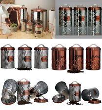 Vintage Copper Tea Coffee Sugar Pasta Biscuits Storage Jars Canisters Bread Bin
