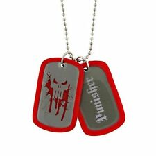 Marvel Punisher Vigilante Skull Red Double Dog Tags Chain Pendant Necklace 2018