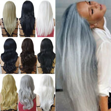 Wig Real Deluxe Women's Long Curly Straight Wavy Full Wig Cosplay White Blonde h
