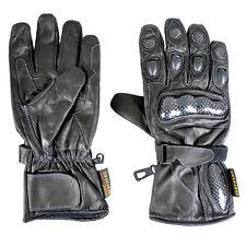 Black Winter Waterproof Leather Gloves 4 Motorbike Knuckle Guard