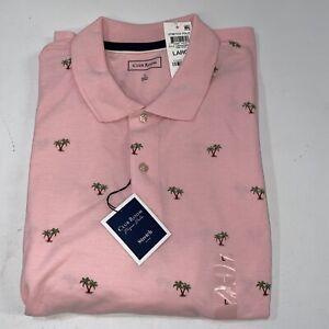 Club Room Mens Pique Polo Shirt Size L S/S Pink Flamingo Tropical Island $50