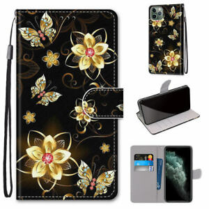 Golden Diamond Butterfly Luxury Fashion Flip Wallet Case Cover For Various Phone