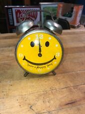 1960's Robert Shaw Lux Windup Have A Happy Day Yellow Smiley Face Alarm Clock