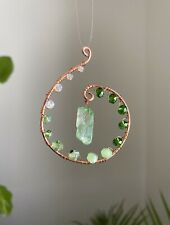 Copper Wire Green Beaded Crystal Suncatcher, Decor, Window Hanging, Car Ornament