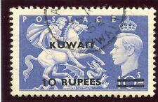 Kuwait 1951 KGVI 10r on 10s ultramarine (Surch Type I) VF used. SG 92. Sc 101.
