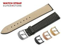 For LONGINES Watch Black Strap Band Genuine Leather SNAKE Style Buckle Clasp