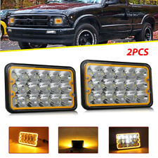 "2pcs 4x6""inch 150W Rectangle Led Headlight yellow DRL for chevrolet S10 1997"
