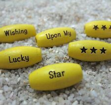 30 - PERSONALIZED YELLOW Melon Wood 15x7mm Oval Beads - Custom Laser Engraved