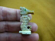 (Y-SEAH-WB-8) SEA HORSE tan seahorse dragon carving stone SOAPSTONE seahorses