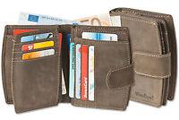 Woodland® Leder Damen Geldbörse mit vielen Kreditkartenfächern in Braun
