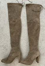 Stuart Weitzman Grey Highland Thigh High Suede Heeled Boots Size 38