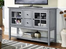 """Walker Edison Furniture 52"""" Wood Console Table Buffet TV Stand in Antique Grey"""