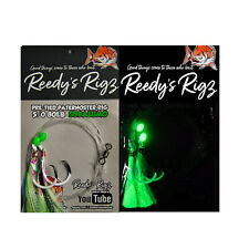 10 Snapper  Fishing Rigs ULTRA Reedys 5/0 Mixed Colour 80lb Lumo Fly Hooks