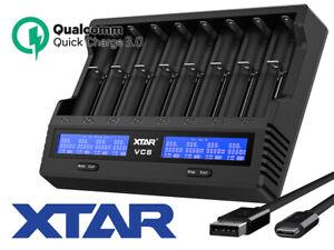 XTAR VC8 - 8-Schacht Universal Ladegerät - E-Zigarette - Quick Charge 3.0-USB C