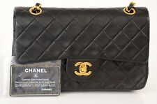 Chanel black quilted leather signature CC logo shoulder handbag purse $5800