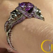1.65 Ct Gorgeous Purple Two Skull Engagement Wedding Ring 925 Sterling Silver