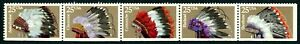 US Scott #2501-2505 Indian Headdresses (2505a)  Strip of 5  MNH***FREE SHIP****