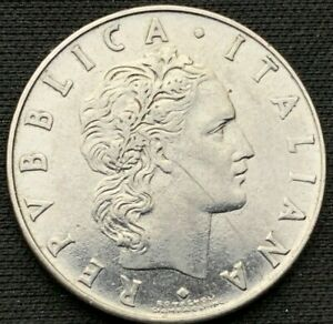 1972 r Italy 50 Lire Coin UNC      World Coin Stainless Steel     #K489