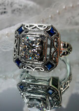 White Gem &*Sapphire* Art Deco 1930's Repro Sterling Silver Filigree Ring Size 7