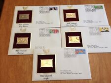 US FDC 1992 Wild Animals 5 First Day Covers 22K Gold Stamp Replicas Addressed |