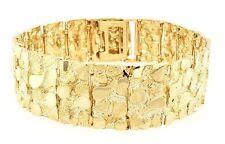 "Men's Solid 10K Yellow Gold Nugget Style Link Bracelet 7""-7.5"" 21.4mm 52-53 gram"