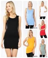 Womens EXTRA LONG Seamless TANK TOP Tunic Stretch Bodycon Mini Dress Slip S-XL