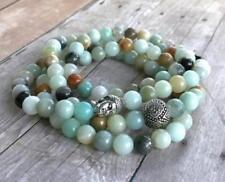 Amazonite Natural stone bead mala cuff bracelet 108 men yoga meditation necklace