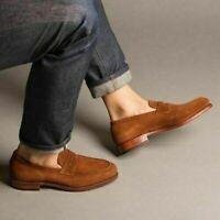 Chaussures habillées mocassins en daim marron véritable pour hommes faits à la