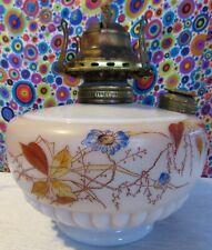 Antique Vintage Milk Glass Oil kerosene Lamp Floral Pattern