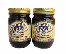 TWO Amish Wedding Foods Old Fashioned Blackberry  Jam 18 oz Glass Jars
