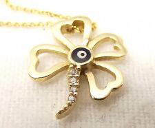 Vtg 14k Gold Shamrock Diamond Pendant Necklace Four Leaf Clover Charm Irish