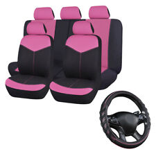 Universal Car Seat Covers & Pink Car Steering Wheel Cover Leather Girls Ladys