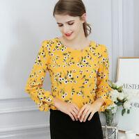 New Women's Casual Tops Blouse Long Sleeve Crew Neck Shirt Floral T-Shirt Summer