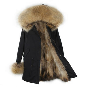 Parka Donna Invernale Pelliccia Vera Cappotto Piumino Pelo Vero Lungo Fur Coat