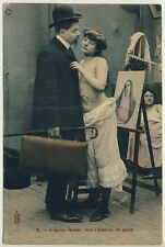 Moglie nude sorpreso/Nude wife Staggered * VINTAGE 1910s French PC
