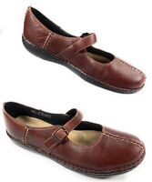 Clarks 77604 Split Toe Mary Jane Buckle Strap Shoes Brown Leather Women's 6.5M