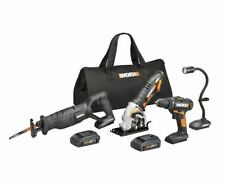 WORX WX943L 20V 4 PC Kit: Drill, Worxsaw, Reciprocating Saw and Flex Light