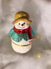 Christopher Radko Snowman Hinged Candy/Trinket Porcelain Figure For Starad ©2007