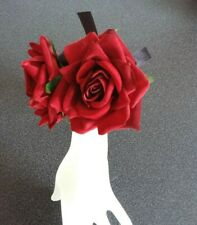 Wedding Bridal Ladies Red Rose Flower Wrist Corsage Bracelet