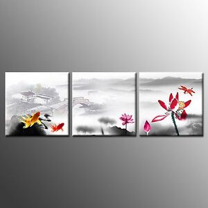 FRAMED CANVAS PRINTS Poster Lotus Flower Paintings Wall Art For Home Decor-3pcs