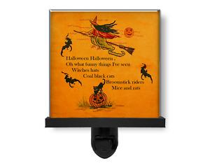 Spooky Halloween Witch Riding Broom Black Cat Pumpkin Glass Photo Night Light