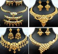 Indian 22K Gold Plated Wedding Necklace Earrings Jewelry Variations Set ABCbb