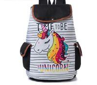 School Backpack For Teenager Cartoon Unicorn Printed Bookbag Travel Rucksack New