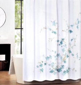 """tahari home floral watercolor shower curtain turquise blue on white 72"""" x 72"""""""