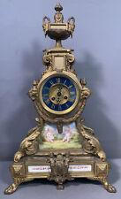Lg Ca.1900 Antique French Old Paris Figural Ormolu Cherub Painted Mantel Clock