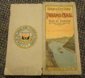 c1915 Bird's Eye View of the Panama Canal map brochure - by I L Maduro