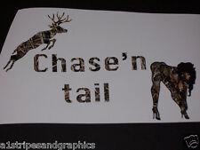 Chase'n Tail decal Decals deer Gun Riffel Hunting Skull Rebel Real Tree M4 Camo